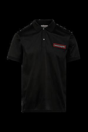 Logo Badge Polo Shirt in Black Mercerize Cotton ALEXANDER MCQUEEN