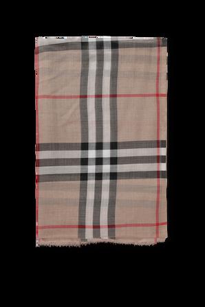 Lightweight Check Wool Silk Scarf in Beige BURBERRY