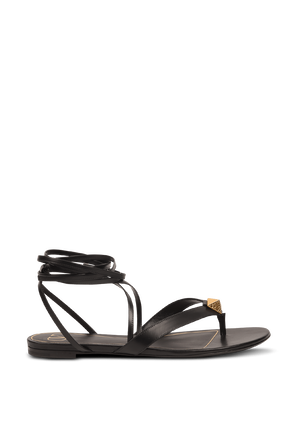 Strappy Flat Sandals in Black VALENTINO
