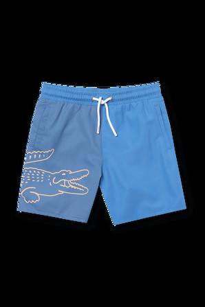 גילאי 4-12 מכנסי בגד ים בכחול LACOSTE KIDS