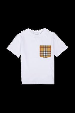 גילאי 3-14 חולצת טי לבנה עם כיס משובץ BURBERRY