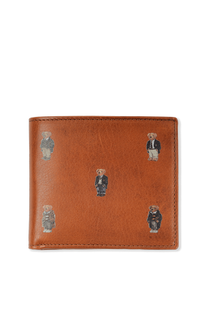 Bear Print Wallet in Brown Leather POLO RALPH LAUREN