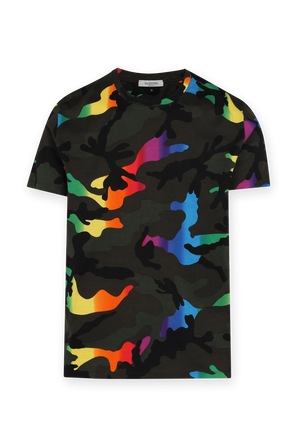 Green T-Shirt With Camouflage Print VALENTINO