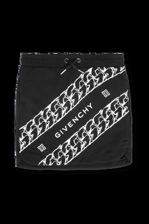 גילאי 6-12 חצאית מיני שחורה עם לוגו GIVENCHY KIDS
