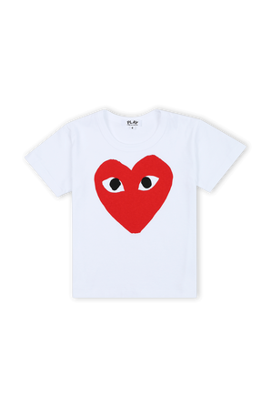 גילאי 2-6 חולצת טי בלבן עם לוגו PLAY באדום COMME des GARCONS KIDS