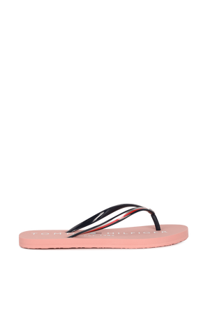 Glossy Signature Flip Flops in Pink TOMMY HILFIGER