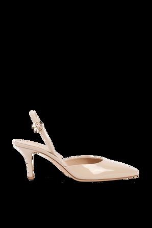 נעלי עקב מעור עם סיומת שפיץ בגוון ניוד GIANVITO ROSSI