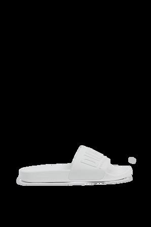 Mayemi Logo Slide Sandals in White DIESEL
