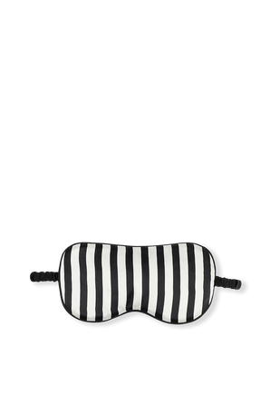 Woven Eyemask in Nika Core Black and Ivory Striped OLIVIA VON HALLE