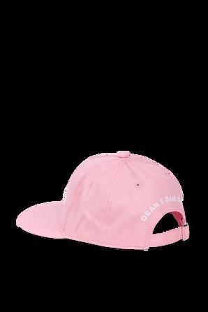 כובע מצחייה ורוד עם רקמת לוגו בלבן DSQUARED2 KIDS