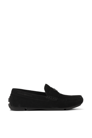 Black Loafers in Soft Suede with Logo EMPORIO ARMANI