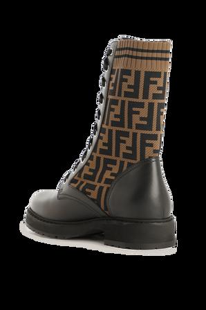 Black Leather Biker Boots FENDI