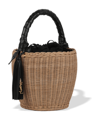 Panier Raffia Bucket Bag in Brown and Black SAINT LAURENT