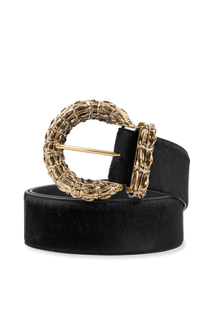 Gold Buckle Belt in Black SAINT LAURENT