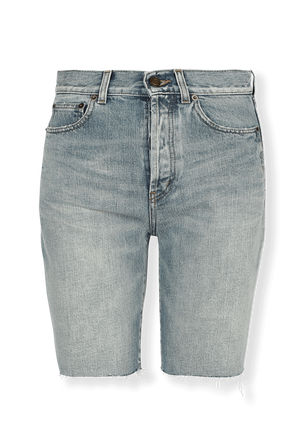 Straight Denim Shorts In Light Blue SAINT LAURENT