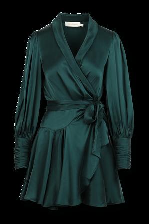 Wrap Silk Midi Dress in Green ZIMMERMANN