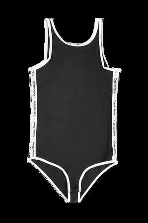 מידות 10-16 בגד גוף שחור וממותג עם אמרות בגוון לבן CALVIN KLEIN