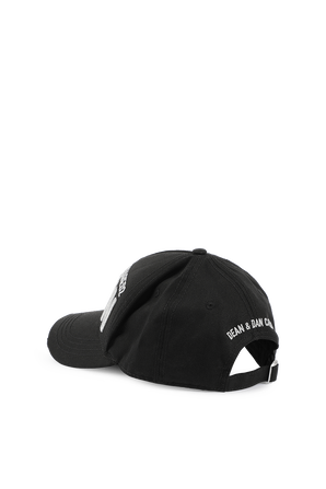 Embroidered Cargo Baseball Cap in Black DSQUARED2