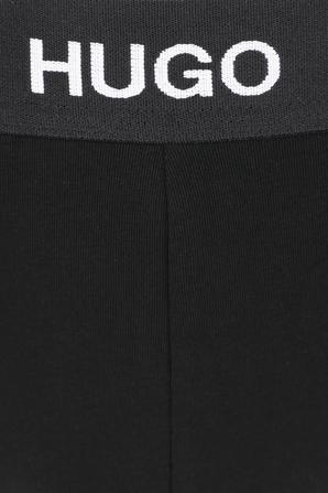 Swim Shorts With Foil-Print Logo in Dark Blue HUGO