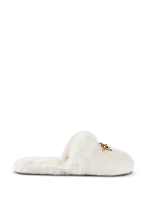 Faux Fur Palazzo Slippers in White VERSACE