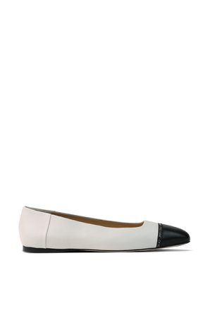 Watson Flat Shoes in White and Black JIMMY CHOO
