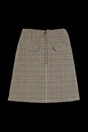 חצאית מיני בהדפס משבצות בצבעי לבן חום שחור ואדום TOMMY HILFIGER