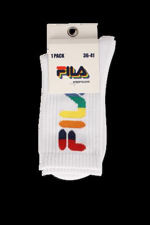 Fila Pride Multicolor Logo Socks in White FILA
