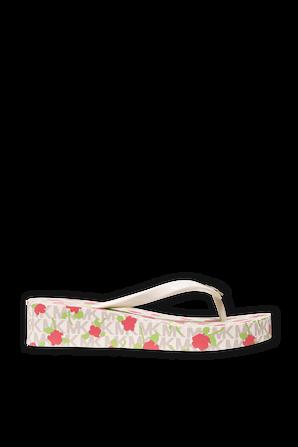 Logo Platform Slide Sandal In White MICHAEL KORS