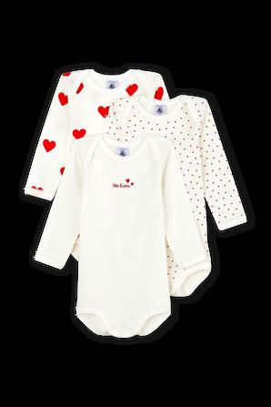 גילאי 3-36 חודשים שלישיית בגדי גוף בפרינט לבבות PETIT BATEAU