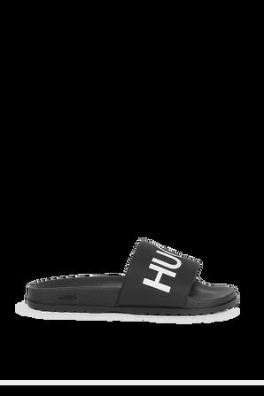 Slides With Contrast Logo in Black HUGO