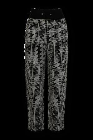 Monogram Jacuard Sweatpants in Black and Ivory BALMAIN