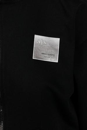 Metallic Logo Print Hoodie in Black ARMANI EXCHANGE