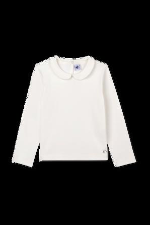 גילאי 3-12 חולצת טי ארוכה עם צווארון פיטר פן בגוון לבן PETIT BATEAU