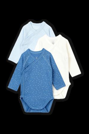 גילאי 1-12 חודשים מארז שלוש בגדי גוף בגווני כחול ולבן PETIT BATEAU