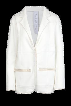 Organic Cotton Straight Blazer in White AZ FACTORY