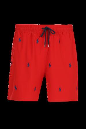 Logo Swim Shorts in Red POLO RALPH LAUREN