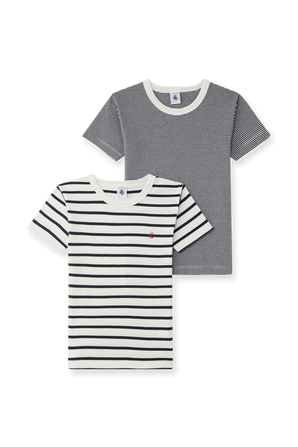 גילאי 2-10 מארז שתי חולצות פסים בלבן ונייבי PETIT BATEAU