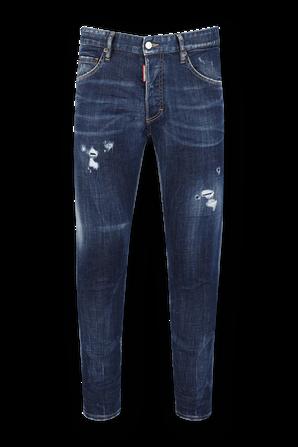 מכנסי סקיני ג'ינס עם קרעים בשטיפה כחולה  DSQUARED2