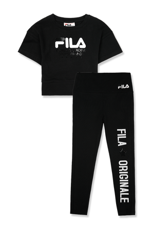 גילאי 2-8 סט הכולל חולצת טי וטייץ ארוך עם לוגו בשחור FILA
