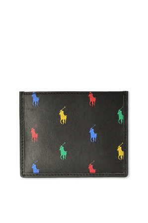 Colorful Logo Card Case in Black Leather POLO RALPH LAUREN