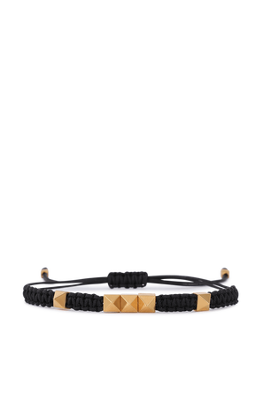 Pyrmid Bracelet in Black and Gold VALENTINO