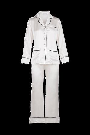 Button Long Printed Pyjama Set in Ivory Core OLIVIA VON HALLE