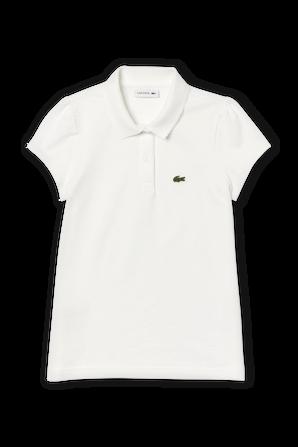 גילאי 2-12 חולצת פולו בלבן עם פאצ לוגו וכיווץ בשרוולים LACOSTE KIDS