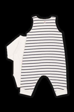 גילאי NB-18 חודשים סט אוברול פסים ובגד גוף ארוך PETIT BATEAU