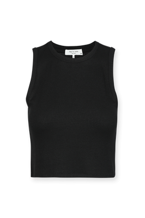 The Knit Rib Cropped Tank Top in Black RAG & BONE