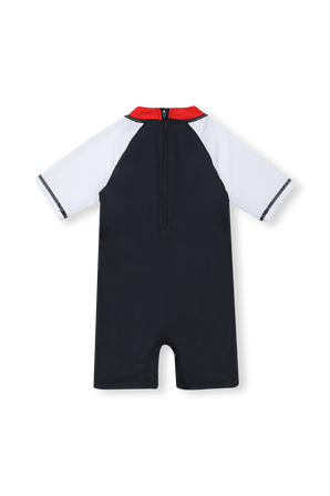 גילאי 6-18 חודשים אוברול בגד ים בגוון כחול עם לוגו FILA