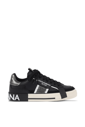 NS1 Low Top Sneakers in Black and Silver DOLCE & GABBANA