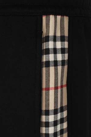Vintage Check Panel Cotton Trackpants in Black BURBERRY
