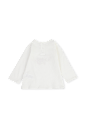 גילאי 6-18 חודשים חולצת טי לבנה עם שרוולים ארוכים CHLOE KIDS