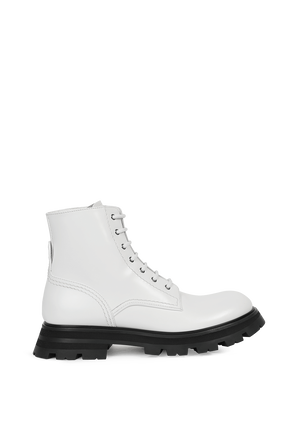 Leather Upper Boots in White ALEXANDER MCQUEEN